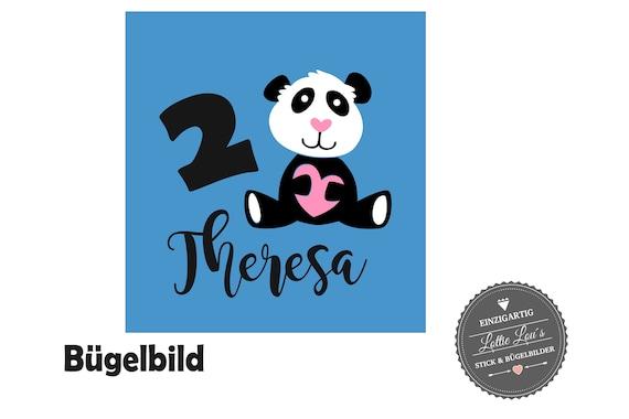 Personalisiertes Bügelbild Panda Bär Herz zum Geburtstag Wunschname  Zahl in Glitzer, Flock, Effekt, Flex Iron On Aufbügler Birthday