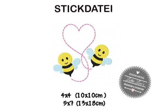 Embroidery design embroidery Love bee Valentines Day 4 x 4 5 x 7