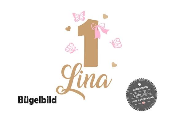DIY Bügelbild zum Geburtstag mit Wunschzahl und Name mit Schleife Schmetterling & Herz