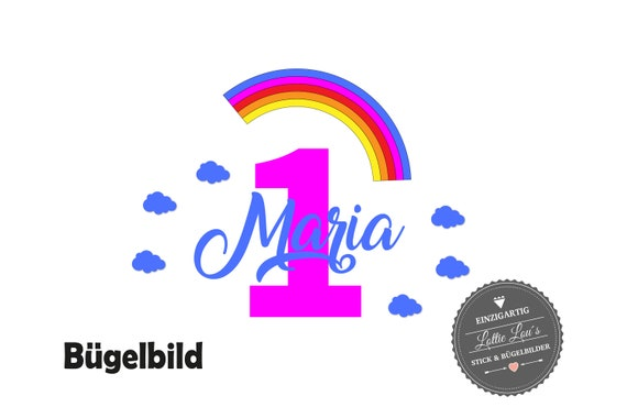Bügelbild DIY Individuell Custom Geburtstag Birthday Regenbogen Rainbow  Zahl Name Glitzer Flock Effect Heat Transfer Aufbügler Iron On