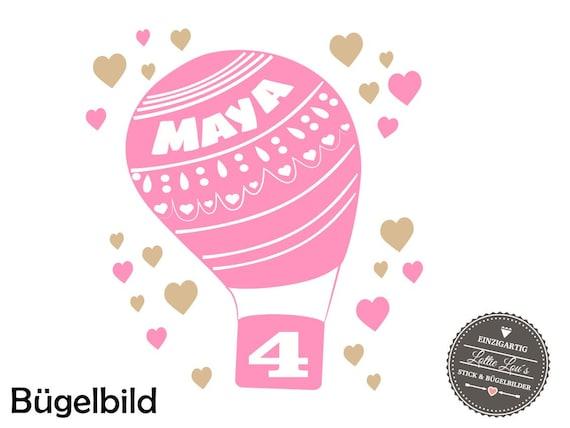 Bügelbild Geburtstags Heißluftballon Name ZahlIron On