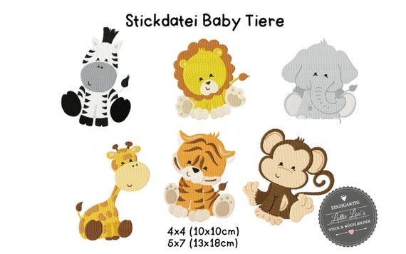 Embroidery design embroidery file set baby animals zoo elephant Tiger Zebra