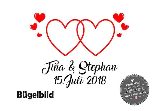 Bügelbild Braut Hochzeit Liebe Herz mit Wunschname & Datum