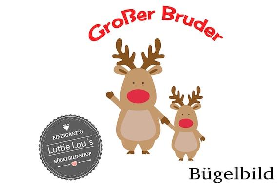 Iron on Bow Moose Reindeer Big Brother