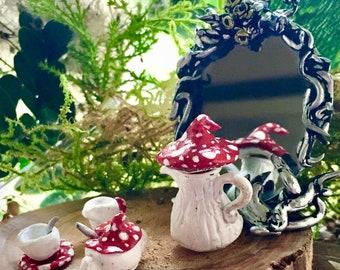 Ooak 12th scale Miniature clay Mushroom Tea set, gift Witch/altar/Fairy pixie garden/dolls house accessories/fae/Diorama scene/collector