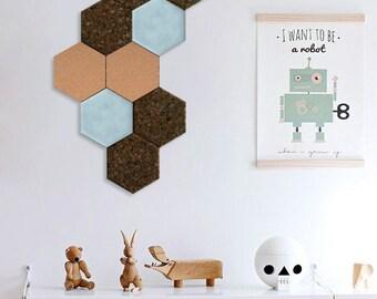 Cork And Velvet Wall Tiles Hexagon Wall Decor Set Of 3 Etsy