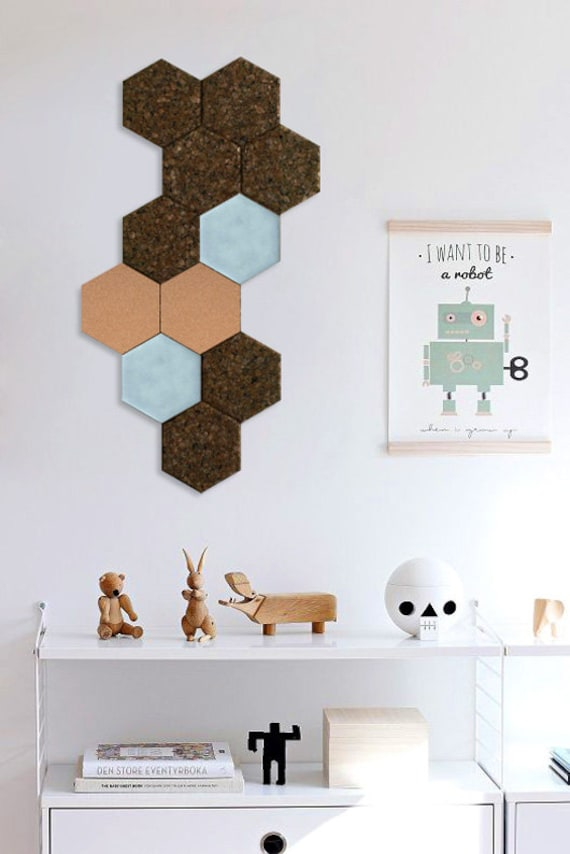 Set Of 3 Cork Hexagonal Tiles For Walldecor Cork Felt Etsy