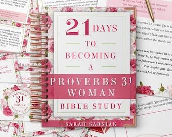 Proverbs 31 Woman Bible Study PRINTABLE Bundle Proverbs 31 Devotional and Workbook eBook Scripture Memorization Cards Prayer Cards