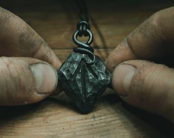 rune pendant, iron necklace, viking jewelry, forged necklace, iron pendant, rune necklace, viking collier, viking necklace, viking pendant