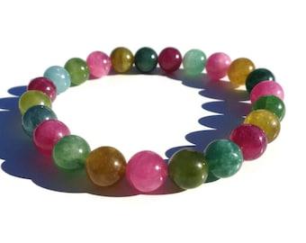 Tourmaline Bracelet, HIGH QUALITY Natural Tourmaline, October Birthstone, LGBT Multi-color Gemstone Bracelet, Healing Mala Unisex Bracelet
