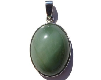 Russian Jade Pendant, Siberian Jade, Green Jade Pendant, 925 Sterling Silver, Natural Jade, Gift For Her, Green Stone 10.7g