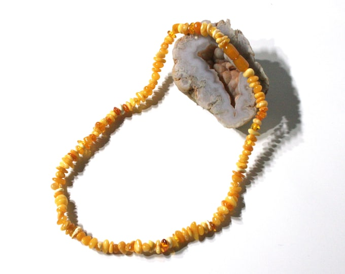 """AMBER Necklace, Baltic Amber Necklace for Adults, Amber Necklace for Teens, Real Amber Beads, 100% Natural Amber, Butterscotch Amber, 16.5"""""""
