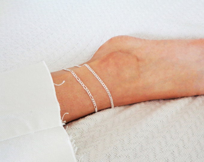 Ankle Bracelet For Women, 925 SOLID Sterling Silver Anklet Bracelet Cuban Link, Silver Miami Cuba Curb Anklets, Silver Link Bracelet Italy
