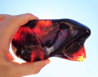 Amber Stone, 100% Real Amber, Sumatra Amber, Polished Amber Fossilized Stone, Natural Amber Stone, Amber Display Stone, 310.3 gr