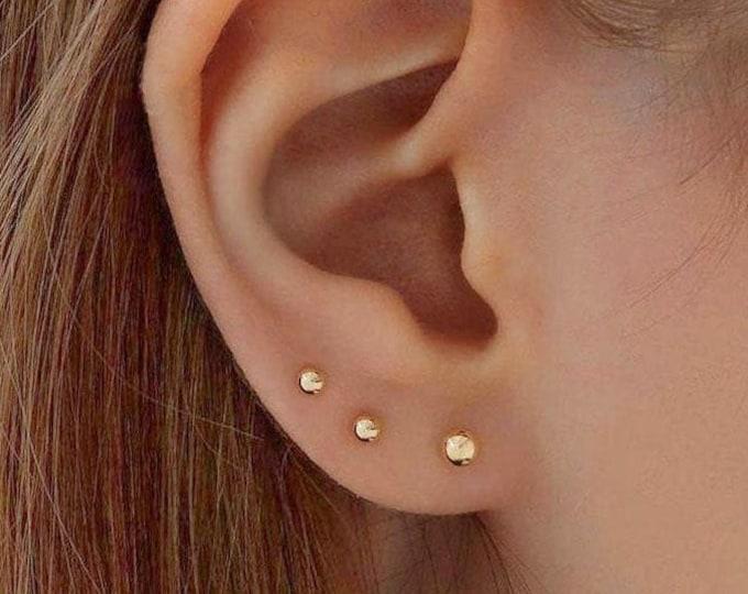 Gold Earrings, Real 14K Yellow Gold Studs, 10K Ball Stud Earrings, Rose Gold, Sterling Silver 3mm-5mm Minimalist Hypo Allergenic Earrings