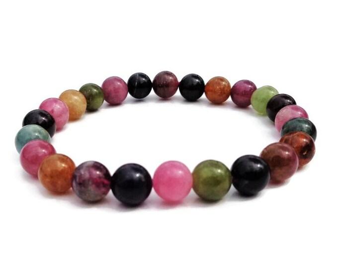 Tourmaline Bracelet, Natural Tourmaline, AA Tourmaline, October Birthstone, Gemstone Bracelet, Mala Bracelet, Healing Bracelet