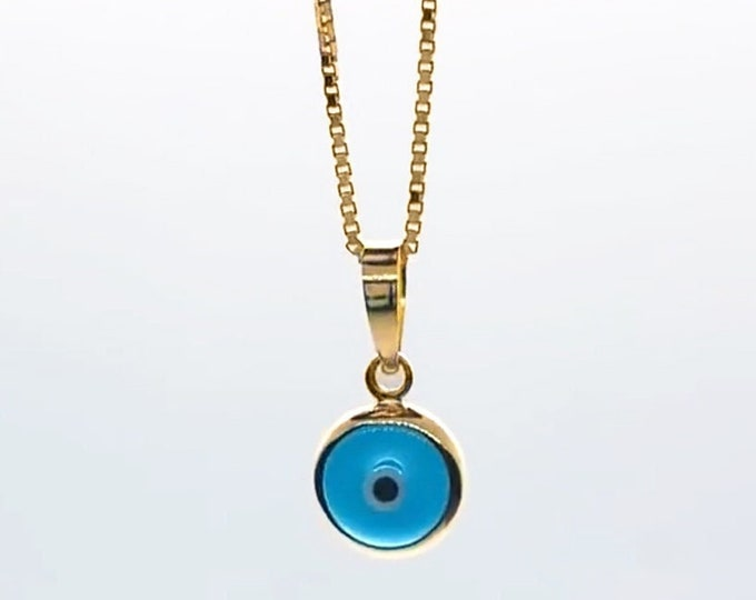 Yellow Gold Evil Eye Pendant Charm, 10K Real Gold Evil Eye Good Luck Charm, Protection Pendant, Gold Amulet, Talisman Necklace