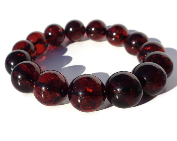 Cherry Amber Bracelet 100% NATURAL, High Quality BALTIC AMBER Bracelet, Amber Round Beads Bracelet 14mm, Real Amber Beads 23gr Video Inside