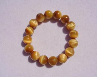 Natural Golden Tigers Eye Bracelet, Tigers Eye Gemstone, Tigers Eye Beads, Tigers Eye Power Crystal, Solar Plexus Chakra, 12mm, Money Stone