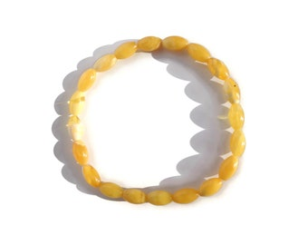 BALTIC AMBER Bracelet, Real Amber Bracelet, Egg Yolk Amber, 100% NATURAL, Royal White Amber Bracelet, Butter Amber Bracelet, 3.2 grams