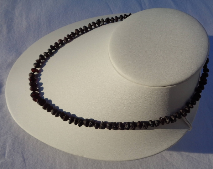Baltic Amber Necklace, Raw Amber Necklace, BLACK CHERRY Amber, Organic, Amber for Pain Relief, Headache, Back Pain, Reduce Swelling