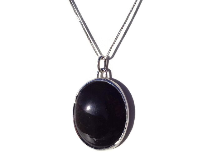 Sterling Silver Obsidian Pendant, Natural Obsidian, Black Obsidian, Obsidian Pendant, Obsidian Gemstone, 925, Protection Stone, Gift for Her