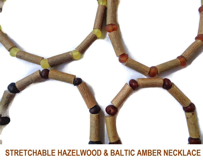 HAZELWOOD Necklace, STRETCHABLE, Raw Baltic Amber Beads, Eczema, Psoriasis, Rash, Acne, Acidosis, Acid Reflux, 6 mm