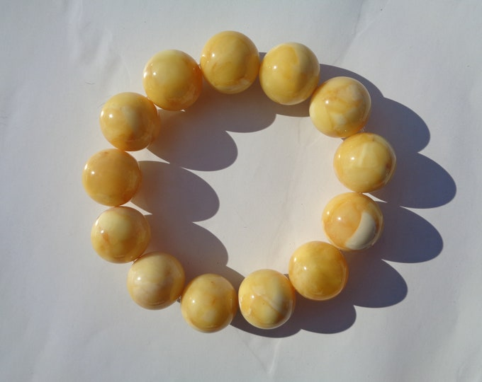 BALTIC AMBER Round Beads Bracelet, 18 mm Real Amber Beads, Natural Pressed Amber, 42.4 grams