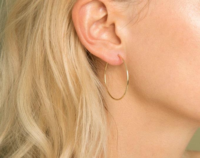 Gold Hoop Earrings 14K Gold Filled, Minimalist Earrings, Hypo Allergenic Earrings, Lightweight Endless Hoops, Dainty Jewelry Gift for Her