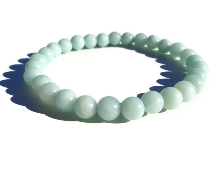 Amazonite Bracelet, Calming Amazonite, Natural Amazonite Gemstone, Gemstone Stacking Bracelet, Handmade, Anti-Anxiety Stone, 4 mm or 6 mm