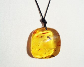 Impressive Huge 100% Natural BALTIC Amber Pendant, Golden Amber Pendant with Natural Ancient Insects Inclusions, 51.5g Very Rare!