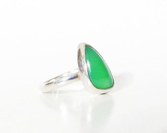 Green Chalcedony 925 Sterling Silver Ring, Natural Green Chalcedony Chrysoprase Ring, March Birthstone, AAA Quality Chalcedony Gemstone Ring