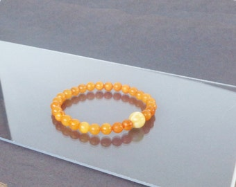 Amber Bracelet, Highest Quality BALTIC AMBER Bracelet, 100% NATURAL Amber, Butterscotch Amber, Royal Amber, Round Amber Beads Bracelet