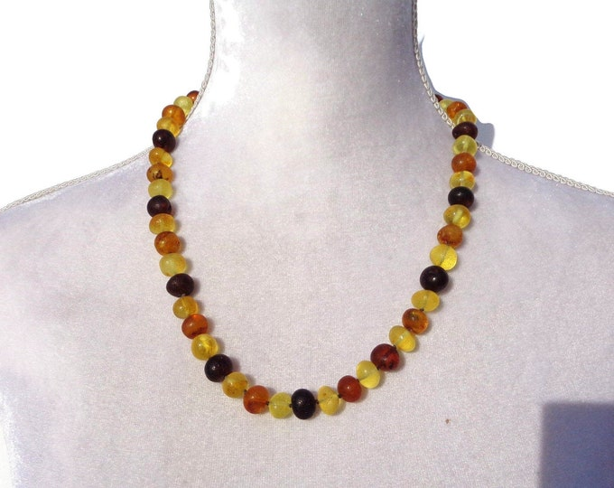 PREMIUM Amber Necklace, Baltic Amber Necklace, Unpolished Healing Amber, Fibromyalgia Relief Jewelry, Handmade,  11-13 mm Amber Beads 39gr