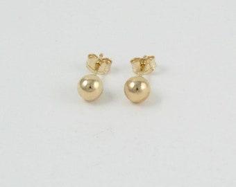 Minimalist 14K Gold Filled Stud Earrings, Sphere Stud Earrings, Dainty Hypo Allergenic Gold Earrings, Tiny Studs, Gold Earrings