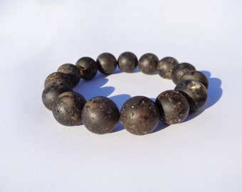100% Natural Baltic Amber Bracelet for Men, 14 mm Large Round Unpolished Amber Beads, Amber for Pain Relief, Arthritis
