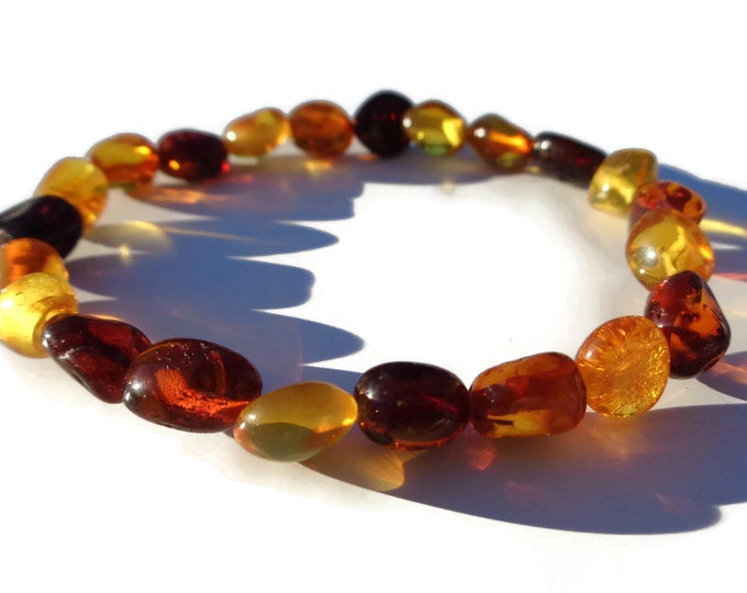 Amber Bracelet, Baltic Amber Bracelet, 100% NATURAL Amber, Real Amber Beads, Polished Multi-color Amber, Summer Jewelry, Choose Size