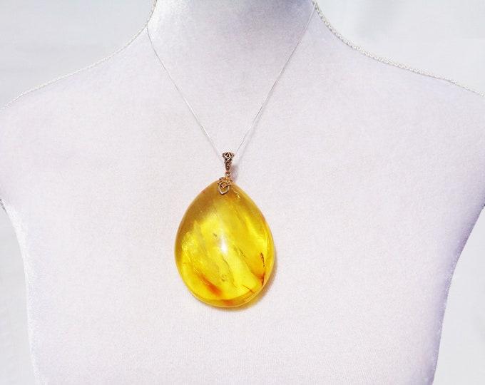 HUGE Baltic Amber Pendant, 100% Natural Golden Amber Pendant, Real Amber Pendant, Gold Plated, 925 Sterling Silver, 56.9 g