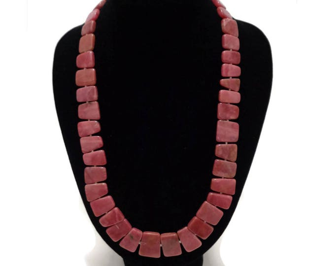 Rhodonite Necklace, Natural Rhodonite Necklace, Pink Rhodonite, Rhodonite Flat Bead, Rhodonite Gemstone, Heart Chakra, Gift for Her