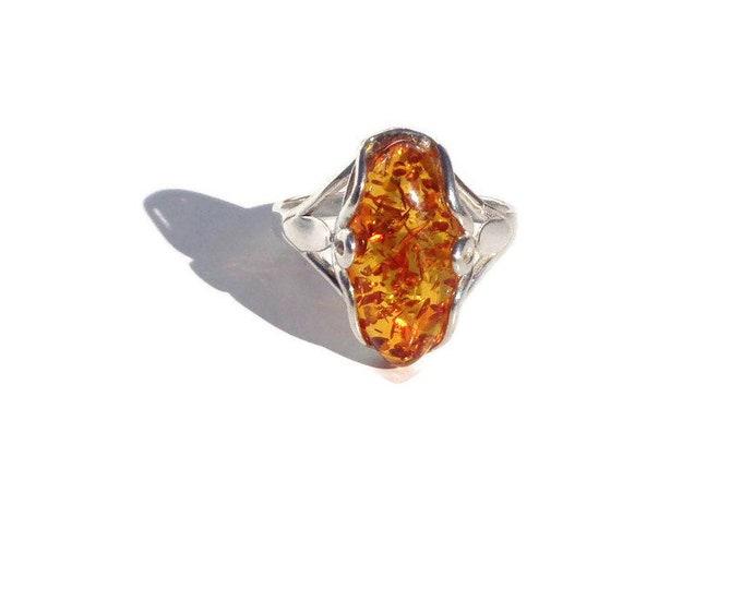Elegant BALTIC AMBER 925 Sterling Silver Ring, 100% NATURAL Amber Ring, Light Cognac Amber Gemstone Women's Ring, Femme Ring