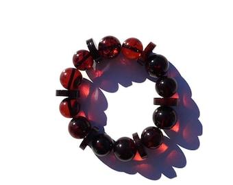 Cherry Amber Bracelet 100% NATURAL, BALTIC AMBER Bracelet, Amber Round and Disc Beads Bracelet 13mm, Real Amber Beads 21gr Video Inside