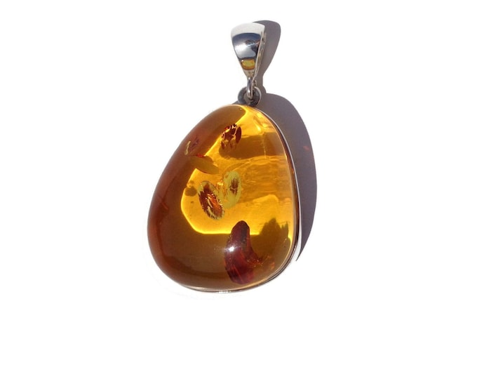 BALTIC AMBER Pendant, Amber Pendant, Honey Amber, Real Amber 925 Sterling Silver Pendant, 17.4 gr, Gift for Her amber jewelry, Teacher Gifts