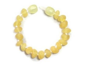 RAW Baltic Amber Teething Bracelet for Baby Girl, Amber Anklet, Amber Baby Bracelet, Baby Anklet, Lemon Amber, Amber for Teething Pain