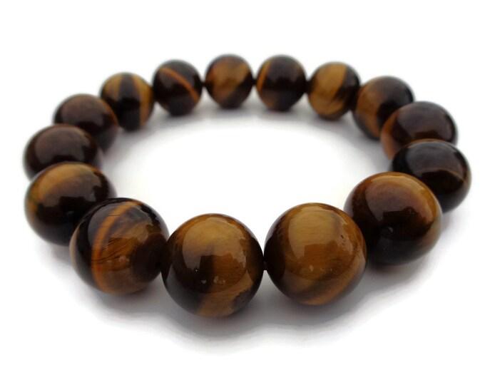 Tigers Eye Bracelet, Natural Tigers Eye Gemstone, Tigers Eye Beads, Tigers Eye Power Crystal, Solar Plexus Chakra, 14 mm Beads, Money Stone