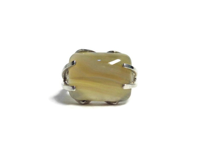 925 Sterling Silver Agate Ring, Natural Agate Ring, Agate Gemstone, 925, Protection Self-Confidence, Healing Stone, Mother's Day Gift Size 7