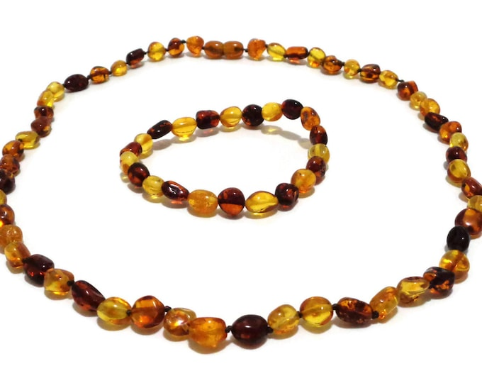 Amber Necklace, Amber Bracelet, BALTIC Amber Necklace & Bracelet Set for Adults, Polished Amber Beads, Handmade, 100% NATURAL Amber