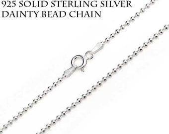 Sterling Silver BEAD Chain, Solid 925 Sterling Silver, Made in Italy, Dainty Necklace, Minimalist Silver Ball Chain, Layering Necklace