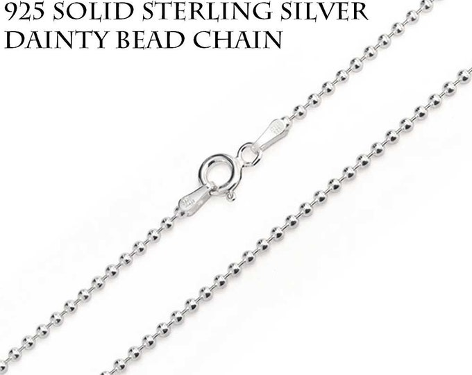 Sterling Silver Chain, Solid Sterling Silver, Dainty necklace, Silver BEAD Chain, 925 Silver Chain, Silver Ball Chain, Italian Chain