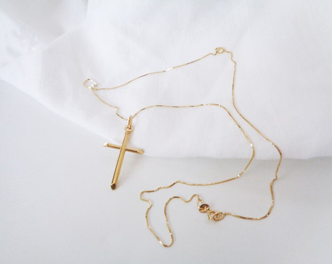 10K Real Gold Cross Necklace, 10K Solid Yellow Gold Cross Necklace, Christian Jewelry, Medium Mens Cross Pendant, Religious Jewelry