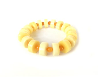 100% NATURAL Real BALTIC AMBER Bracelet, Amber Beads Bracelet, White Butter Amber, Butterscotch Amber, Handmade, Not Pressed Not Melted